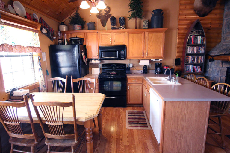 Kitchen View Old West Log Cabin