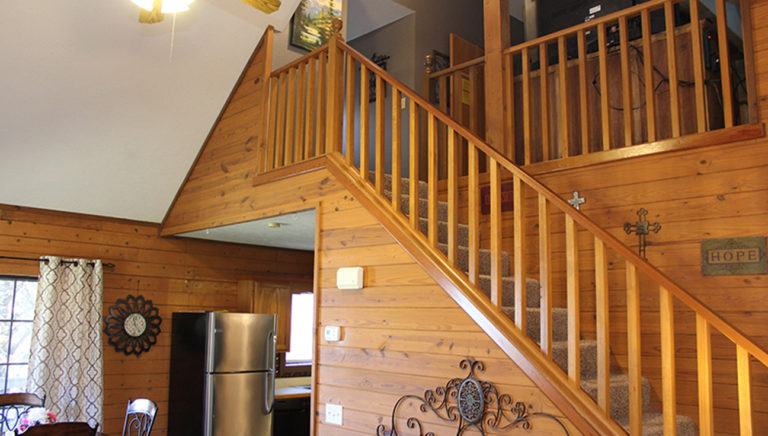 Staircase to Bedroom #2 Fall Creek Log Cabin