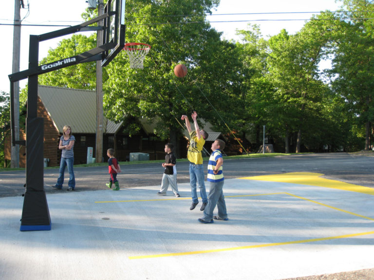 Playing basketball at Notch Estates