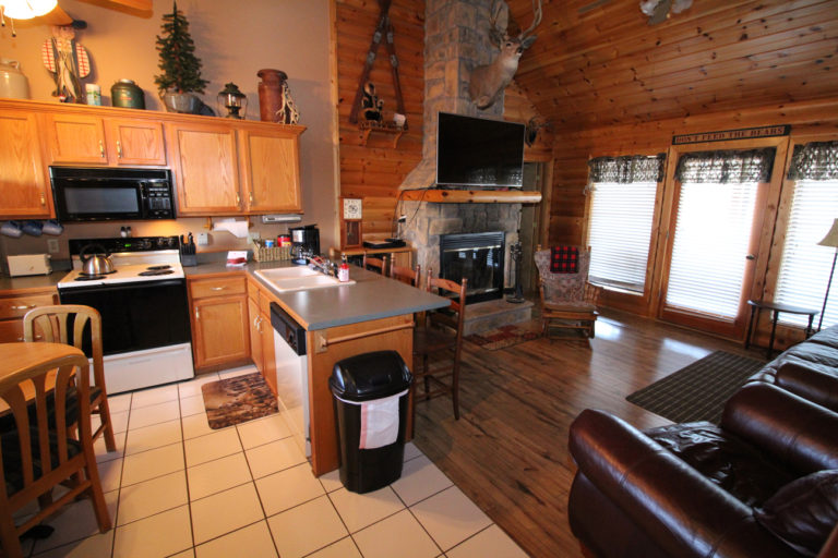 Kitchen and Living Area Trappers Den Log Cabin