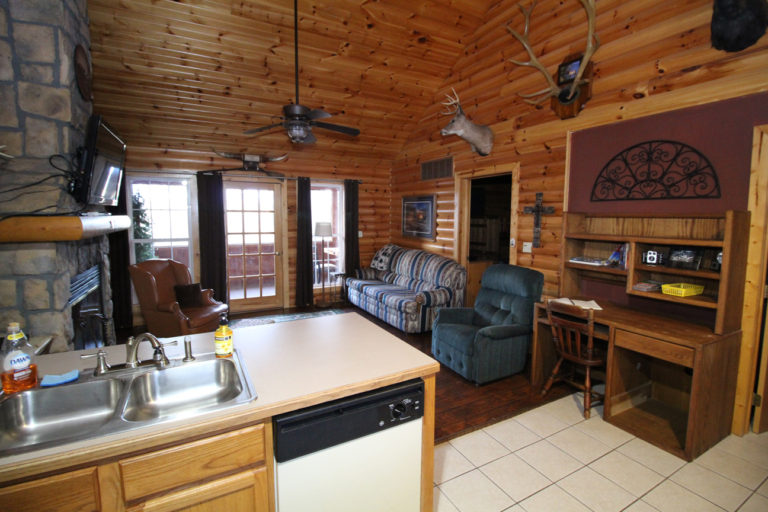 View #2 From Kitchen to Living Area Trails End Log Cabin