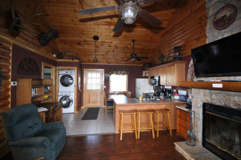 View Toward Kitchen and Back Deck Trails End Log Cabin