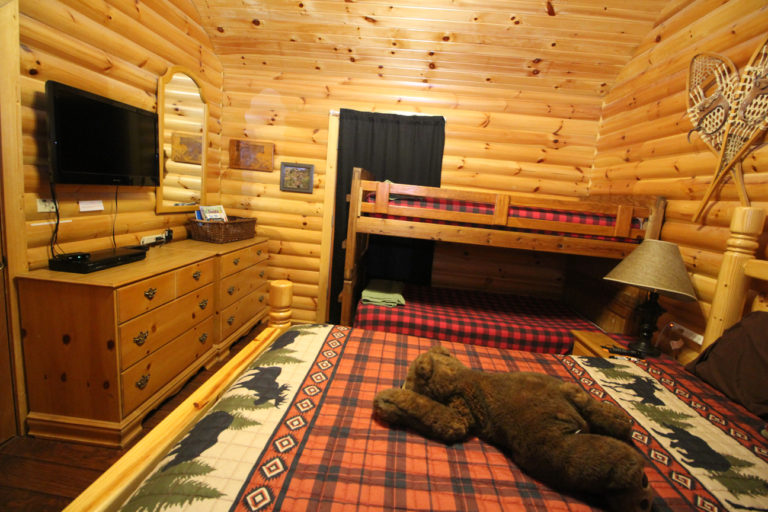 View #2 Guest Room with Queen Size Bed and Bunk Beds Trails End Log Cabin