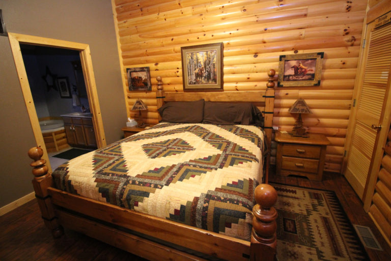 Master Bedroom With King Size Bed Trails End Log Cabin