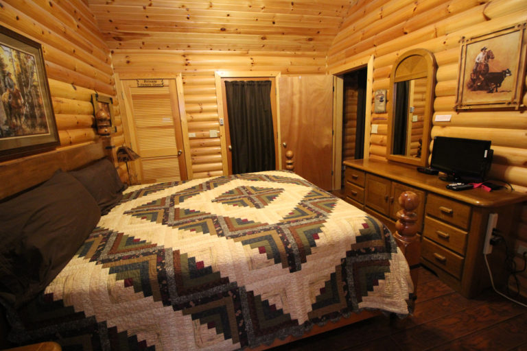 Master Bedroom With King Size Bed View #2 Trails End Log Cabin