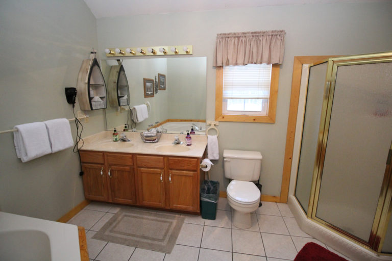 Master Bathroom View From Jacuzzi Tub Trails End Log Cabin