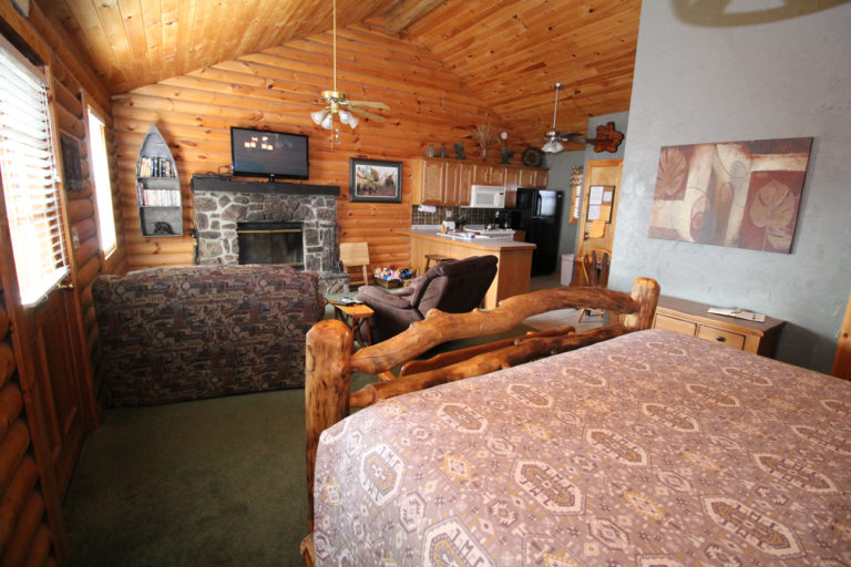 Main Living Area Toward Kitchen Serenity Log Cabin
