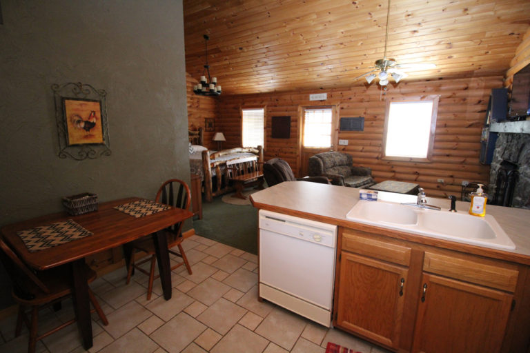 View Toward Living Area From Kitchen Serenity Log Cabin