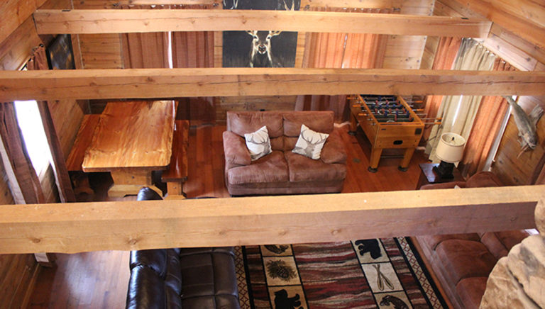 Living Area View From the Balcony Lake Side Log Cabin