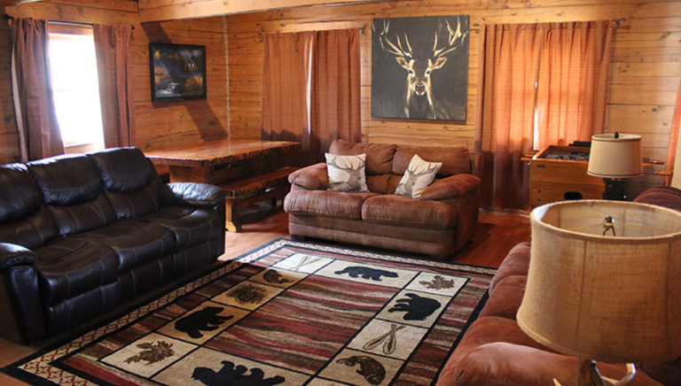 Living Area Lake Side Log Cabin
