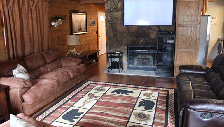 Living Area View #2 Lake Side Log Cabin