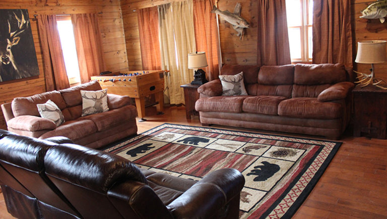 Living Area View #3 Lake Side Log Cabin