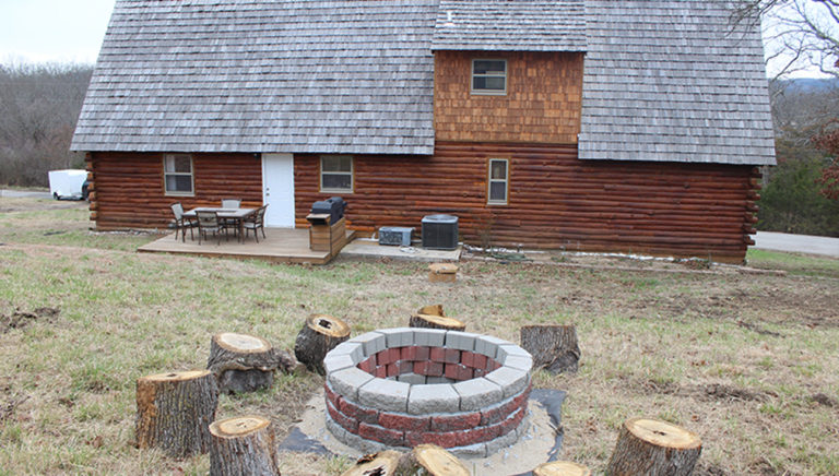 Fire Pit Area View #2 Lake Side Log Cabin