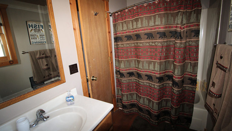 Bathroom View #2 Lake Side Log Cabin