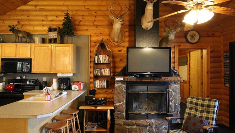 Kitchen and Fireplace Split Oak Log Cabin