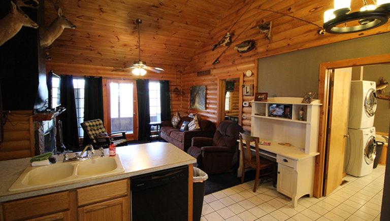 View #2 Toward Living Area From Kitchen Split Oak Log Cabin