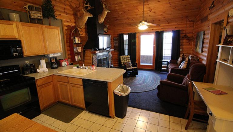 View Toward Living Area From Kitchen Split Oak Log Cabin
