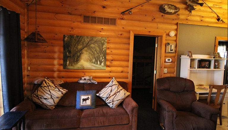 Living Room Split Oak Log Cabin