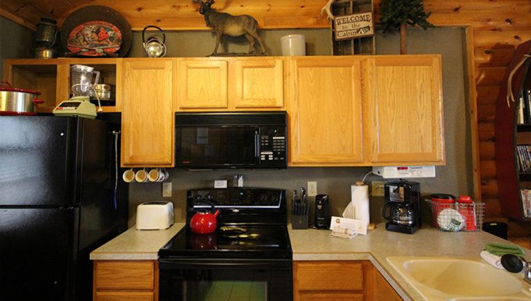 Kitchen Close Up Split Oak Log Cabin