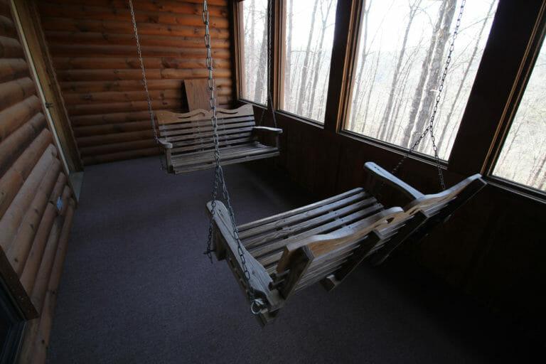Pack Porch in the Great Escape Log Cabin
