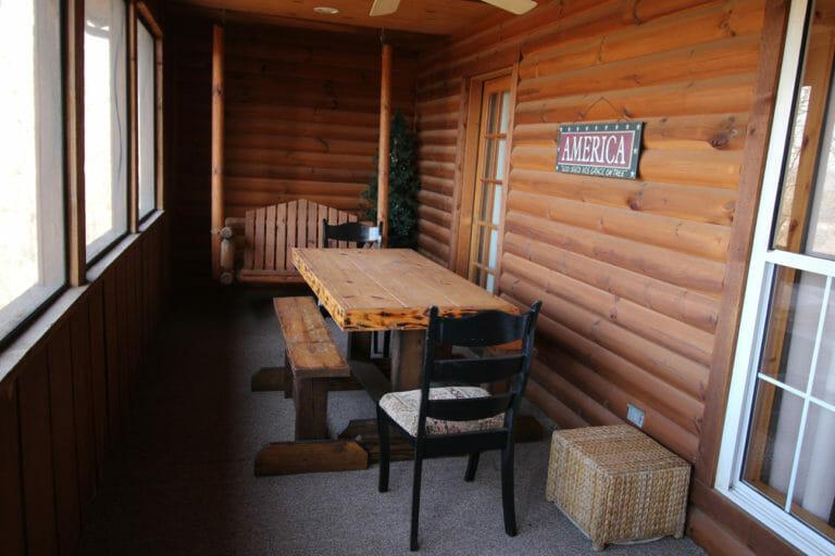 Back Porch Trails End Log Cabin