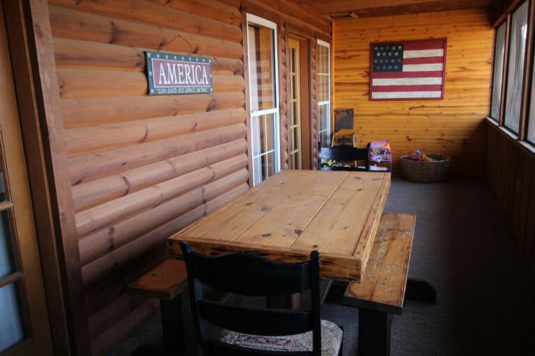 Back Porch View #3 Trails End Log Cabin