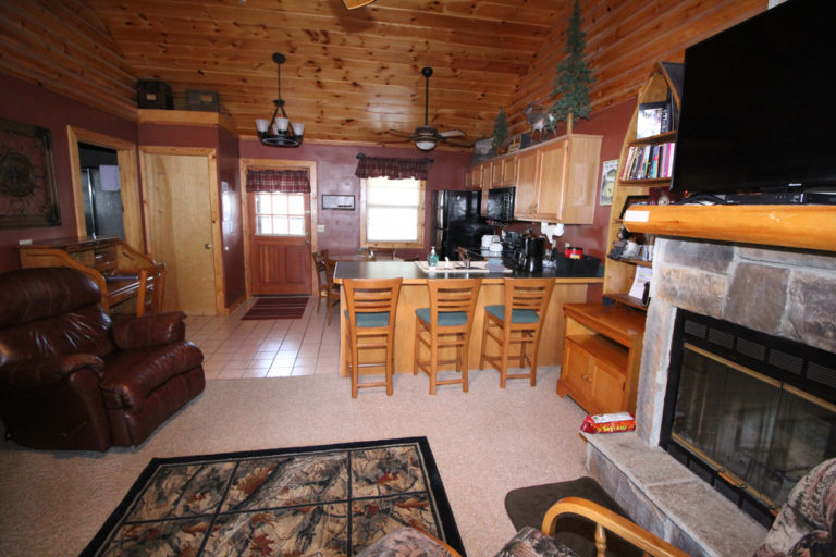 Kitchen View from living area Great Escape Log Cabin