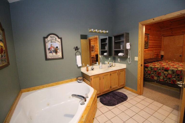 View of the tub, sink, and bedroom in The Great Escape Log Cabin